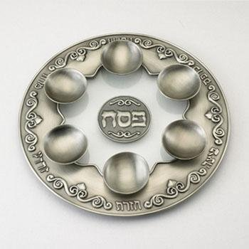 Passover Matzah Plate (Glass and Pewter Seder Plate)