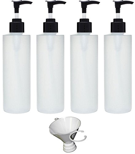 Price comparison product image Earth's Essentials Four Pack Of Refillable 8 Oz. HDPE Plastic Pump Bottles With Patented Screw On Funnel-Great For Dispensing Lotions, Shampoos and Massage Oils.