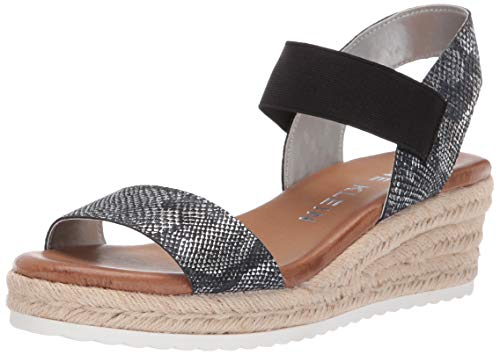 Anne Klein Women's CAIT Espadrille Wedge Sandal, Black/Silver, 11 M US (Black Studio Platform Womens Sandals)