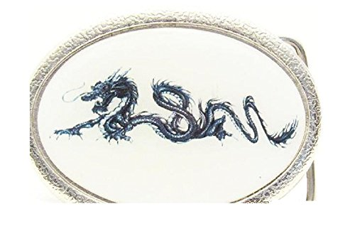 Vintage Ceramic and Silver with Blue Dragon Belt Buckle