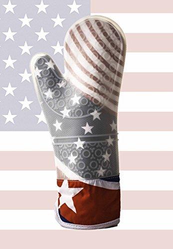 耐熱性シリコンオーブンミットorポットホルダー – シリコングローブテーマAmerican Flag 標準 MW2135 B00SZ4CI1C  White Stars