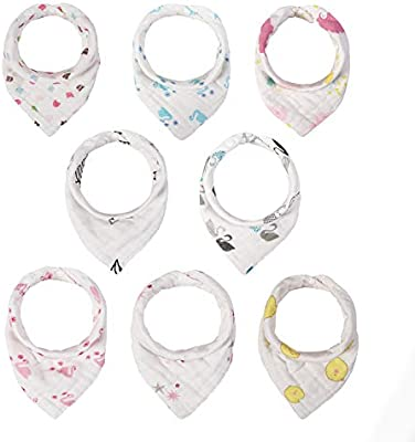 Baby Bandana Drool Bibs Hypoallergenic Unisex 8 Packs Baby Bibs for Drooling and Teething Soft and Absorbent Style A Gift Set for Boys and Girls of 0-24 Months 100/% Organic Cotton