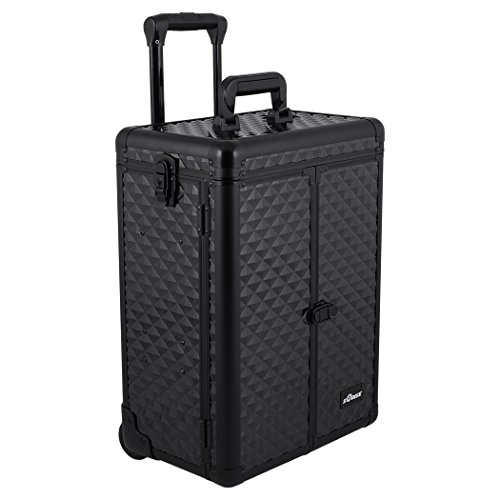 SUNRISE Professional Makeup Case on Wheels E6305 Aluminum, French Doors, 4 Small Drawers, Adjustable Dividers Top Compartment, Locking with Mirror, Black Diamond by SunRise
