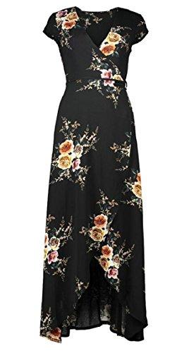Jaycargogo Impression Bohème Occasionnels Robe Maxi Plage Floral Femmes Fractionnés Robes Manches Courtes Noir