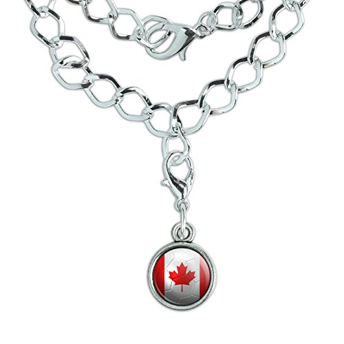 Silver Plated Bracelet with Charm Soccer Futbol Football Country Flag A-I - Canada Flag Soccer - Canada Chain Ball