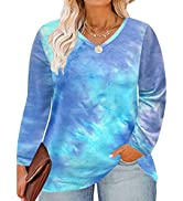 CARCOS Womens Plus Size Tops Long Sleeve Shirts V Neck Animal/Floral/Tie Dye/Camo Pullover Blouse...