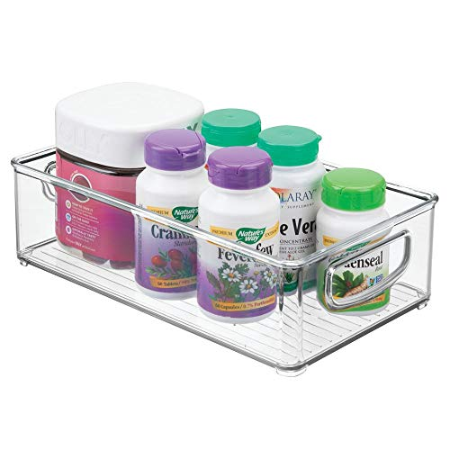 """mDesign Stackable Plastic Storage Organizer Container Bin with Handles for Bathroom - Holds Vitamins, Pills, Supplements, Essential Oils, Medical Supplies, First Aid Supplies - 3"""" High - Clear"""
