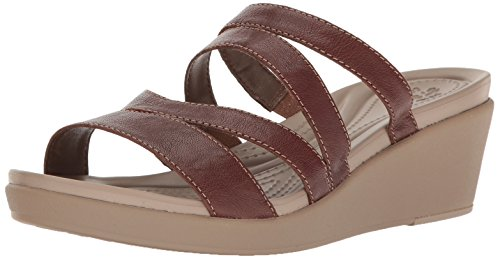 Crocs Women's Leighann Mini Lthr Wedge Sandal, Bronze, 8 M US by Crocs