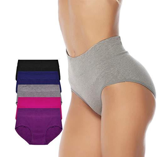 Meromanew Women's Cotton Briefs Panties 5 Pack Mid Waist Solid Color Underwear for Women (XX-Large, Multicolor)