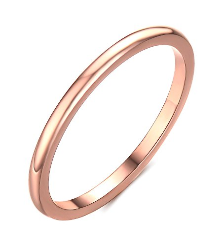 Gold Fancy Solitaire (Vnox 1.5mm Women's Stainless Steel Plain Band Wedding Ring,Rose Gold Size)