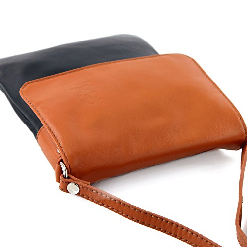 Blue bag modamoda 34 ladies Dark Messenger Camel de bag small ital leather shoulder T xgqIFg7