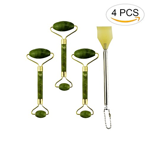 Newbested 4 PCS Include 3 Roller Massager Slimming Tool Facial Face Massage And 1 Telescopic Stainless Steel Back Scratcher