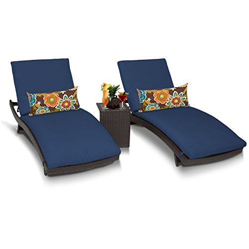 TK Classics Bali Outdoor Wicker Patio Chaise Furniture with Side Table, Set of 2, Navy (Furniture Bali Cheap)