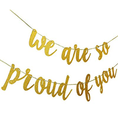 Graduations Party Supplies 2020 Congratulations Banner, Gold We are So Proud of You Banner for College Graduation Decorations(No DIY Required): Toys & Games