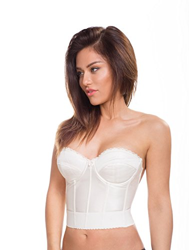 Lined Stretch Corset (Pashanel Women's Low Plunge Backless Satin Longline Bra (38 B, Off White Cream))