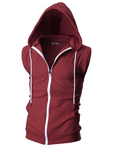 Trim Zip Cardigan - OHOO Mens Slim Fit Sleeveless Lightweight Zip-up Hooded Vest with Single Slide Zipper/DCF012-BURGUNDY-XXL