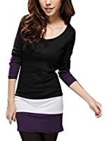 Allegra K Women Scoop Neck Long Sleeve Bar Striped Hem Mini Tunic Dress