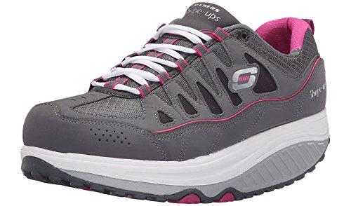 Skechers Women's Shape Ups 2.0 Comfort Stride Fashion Sneaker (Charcoal/Pink, (Skechers Shape)
