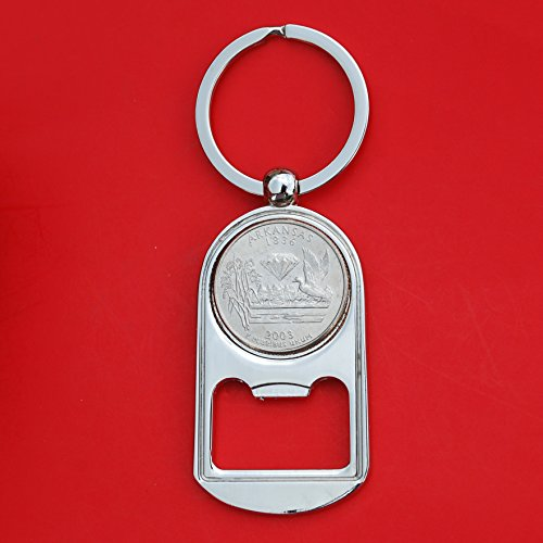 - US 2003 Arkansas State Quarter BU Uncirculated Coin Silver Tone Key Chain Ring Bottle Opener NEW