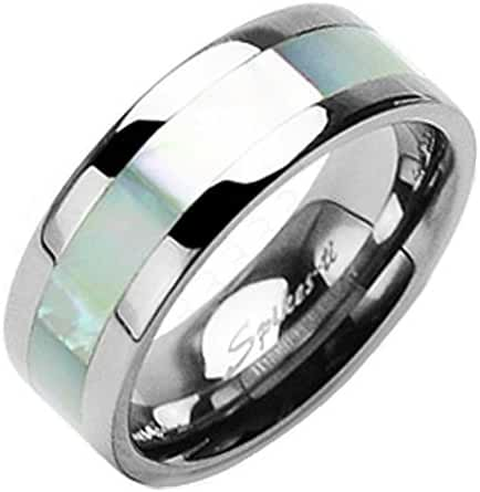 TTNR-0103 Solid Titanium Mother of Pearl Inlayed Band Ring