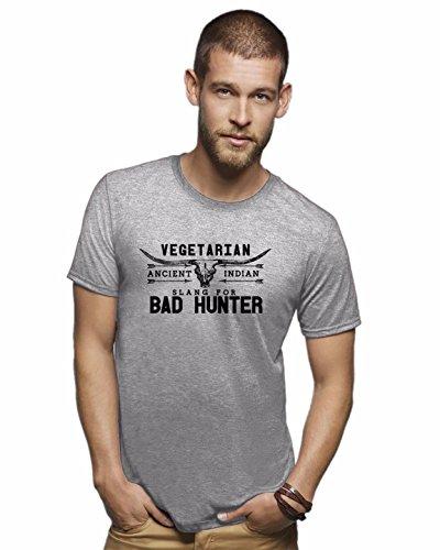 Bad hunter shirt funny vegetarian shirt funny tshirts hunting, Grey, Medium