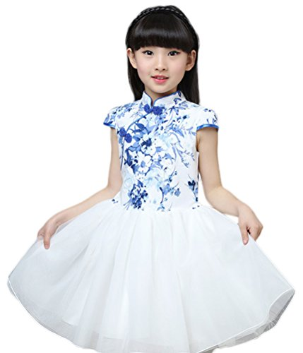 - Soojun Kids Girls Frog Button Multi-Layer Tulle Pompon Dresses 11 8-9 Years