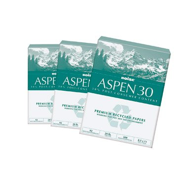 Aspen 30% Recycled Copy Fax Laser Inkjet Printer Office Paper, 8 1/2'' x 11'' Letter Size, 92 Bright  White, 20 lb., Ream, 500 Total Sheets
