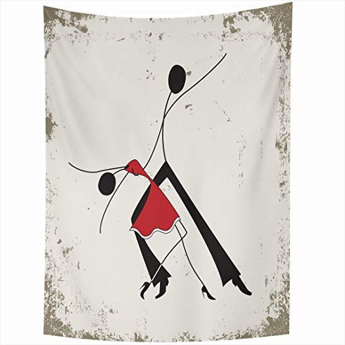 Ahawoso Tapestry 60 x 80 Inches Black Red Tango Dance Music Painting Couple Swing Modern Design Ballroom Wall Hanging Home Decor Tapestries for Living Room Bedroom Dorm