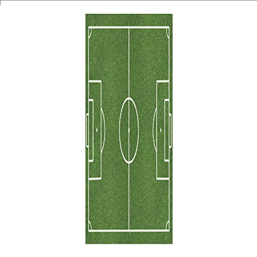 3D Decorative Film Privacy Window Film No Glue,Teen Room Decor,Soccer Field Grass Motif Stadium Game Match Winner Sports Area Print,Fern Green White,for Home&Office from iPrint