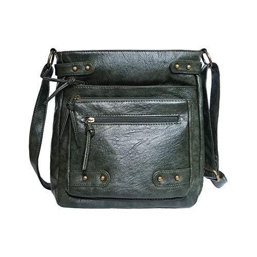 d3311678409b Soft Washed PU Leather Crossbody Purse Multi Pocket Vertical Bag Shoulder  Satchel for Women
