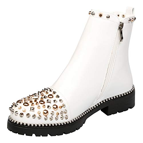 Treasure Boots First White Womens Shoes Fashion Feet Studded Low Heel Ladies Ankle 4wq6x1