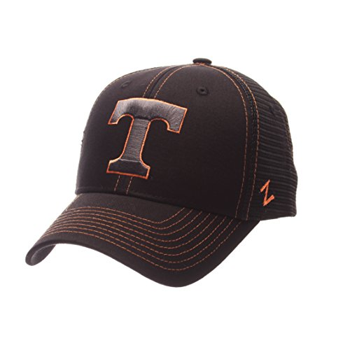 NCAA Tennessee Volunteers Adult Men's Staple Trucker Blackout Cap, Adjustable Size, Black
