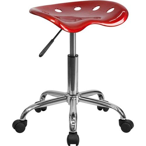 Parkside Vibrant Wine Red Tractor Seat and Chrome Stool by Parkside
