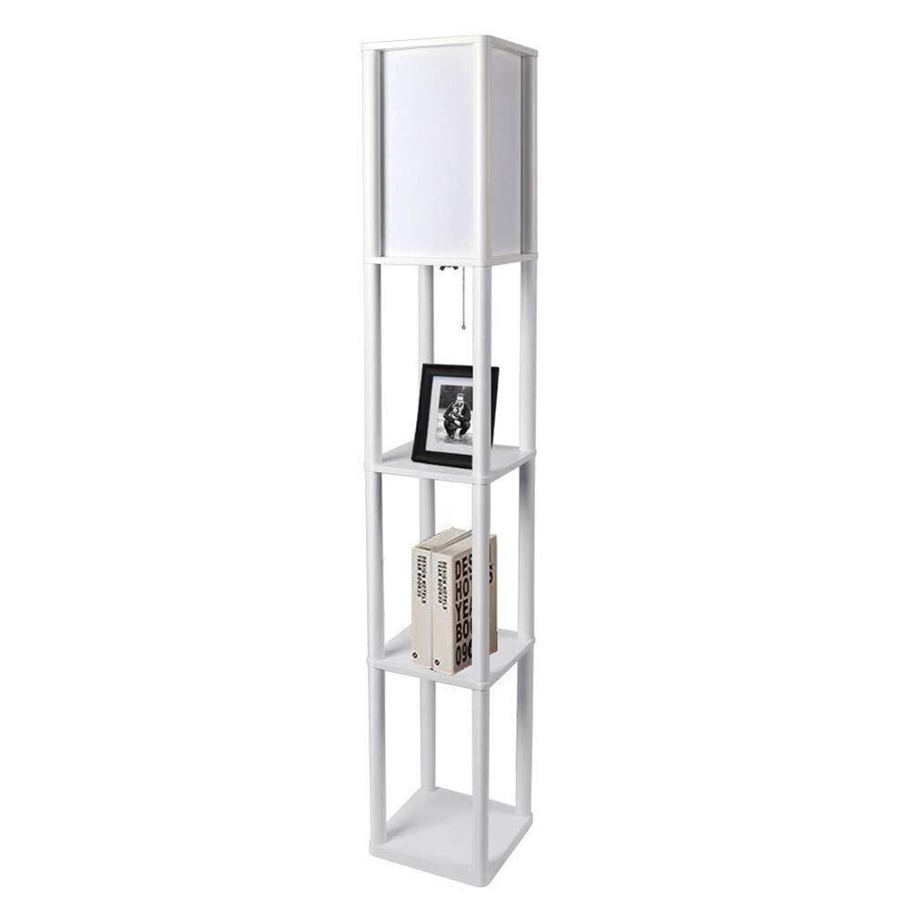 Floor Stand Lights e 3 ripiani a ripiani lampade da terra mensola con luce soffusa diffusa ideale per casa e ufficio -329 ✌LED Lampada da terra in legno con ripiani con lampadina a LED