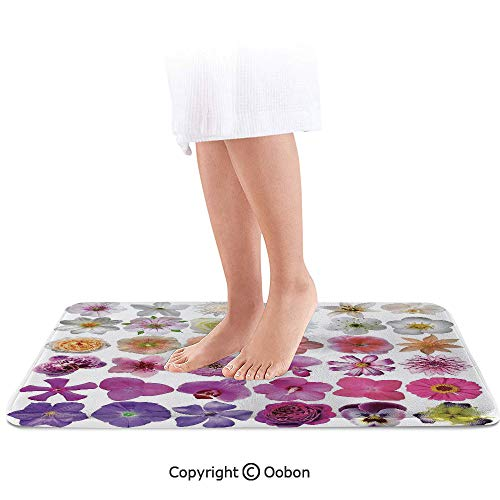 Floral Bath Mat,Pattern of Vase Flowers Petunia Botanic Wild Orchid Floral Nature Art Decor,Plush Bathroom Decor Mat with Non Slip Backing,32 X 20 Inches,White Lilac Pink