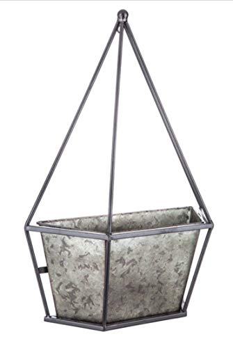 Lapah' Hanging Pot Plant Vase Rustic Countryside Classic Style Galvanized Metal Geometric Wall Planter Farmhouse Country Style