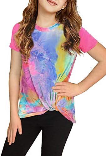 Asvivid Girls Color Block T-Shirts Cute Teen Clothes Summer Short Sleeve Tees Casual Loose Twist Knot Shirts