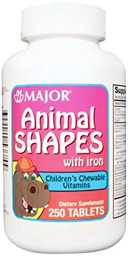 Major Pharmaceuticals 700629 Animal Shapes Children's Chewable Vitamin Tablet with Iron, Compare to Flintstones (Pack of 250)