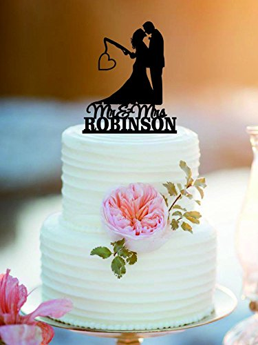 Fishing Wedding Cake Topper (Fishing Poles With Date or Initials wedding cake topper /Mr and Mrs Wedding Cake Topper)