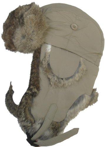 Klondike Sterling Taslon Rabbit Fur Trim Trooper Nylon Aviator Hat (Medium, Khaki)