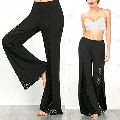 FAIYIWO Women Ladies Solid Palazzo Wide Leg Trousers High Waist Long Loose Casual Pants FAIYIWO Black Size M