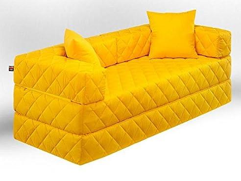 Schlafsofa gelb  1A Schlafsofa! 10 versch. Farben! Ideal für Kinder (gelb): Amazon ...