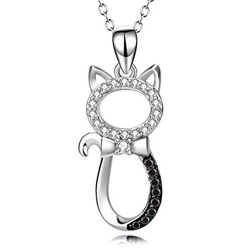 Angel caller 925 Sterling Silver Two Tone Crystal Kitty Pet Cat Pendant Necklace 18