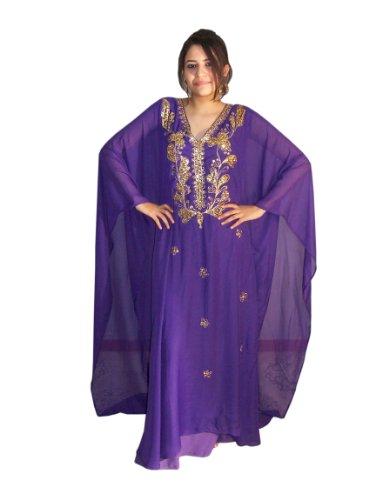 Abaya fijo vestido de gasa transparente, talla única: M hasta XXXL, en diferentes colores Lila/Gold