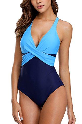 e688683add Vegatos Women Tummy Control 1 Piece Swimsuit Front Twist Colorblock Bathing  Suit