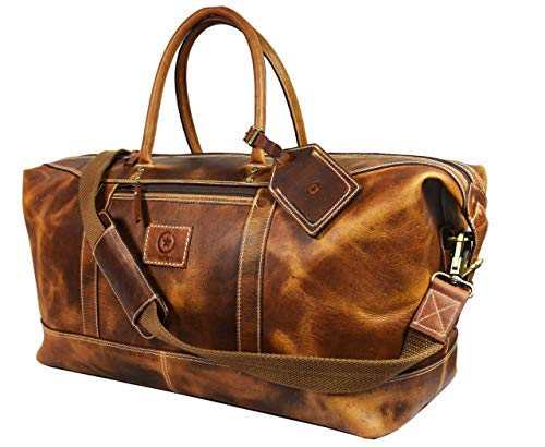 20 Inch Full Grain Leather Travel Duffle Bag for Men By Aaron Leather Goods (Caramel) ()