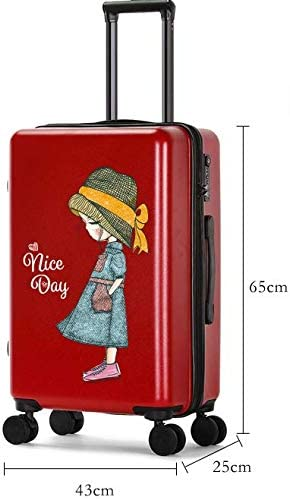 Color : Black TangFei Cartoon Printing Scratch-Resistant Trolley case Female Small Fresh College Student Suitcase 24 inch Suitcase