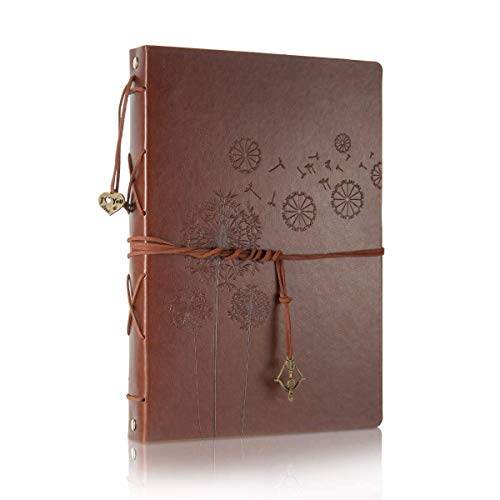 Scrapbooking Photo Album, Vintage Leather DIY Wedding Guest Book Refillable Black Pages Memory Book,Birthday for Mum Girls,Anniversary Presents for Men Women(Dandelion, Large)
