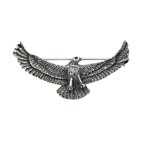 Wild Things Sterling Silver Oxidized Eagle in Flight Pin