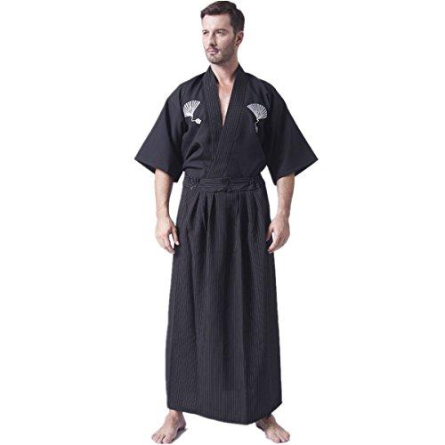 XINFU Mens Boys Japanese Traditional Samurai Men Kimono Warrior Robe Outfit Costume Black -